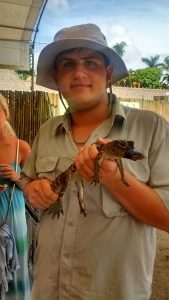 Holding a baby alligator during a Sea Base, Florida Keys expedition